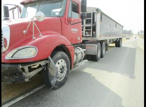 The semi driven by Kendall Curtis received heavy front-end damage.